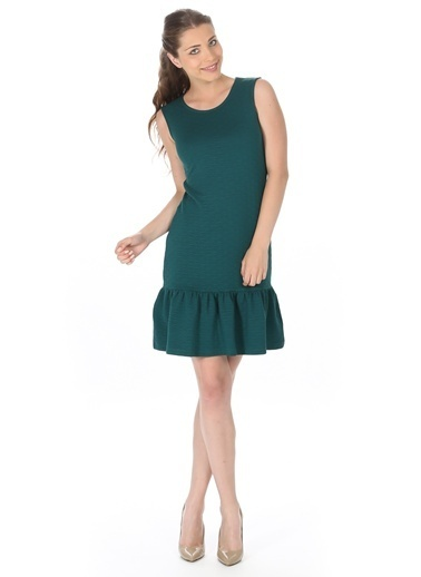 Limon Company Kolsuz Eteği Volanlı Elbise Yeşil